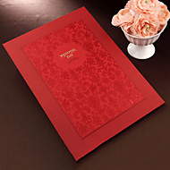 Red Floral Guest Book with Embossed Cover (5 Pages) Sign In Book