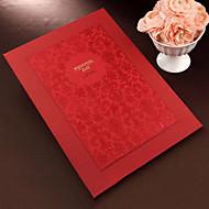 rød floral gjestebok med preget dekselet (5 sider) tegnet i boken