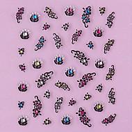 3D-Design Schwarz-Blumen-Muster Strass Nail Art Sticker