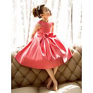 A-line/Princess Tea-length Flower Girl Dress - Satin Short Sleeve