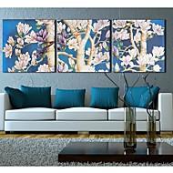 Trykk på strukket Art Landscape FlowersFull Branch Sett med tre