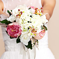 Elegant Peony Round Shape Silk Wedding Bouquet