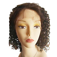 Brazilian Virgin Hair Natural Color 14 Inch Length Loose Curly Full Lace Wig  Swiss Lace 130 Density