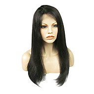 20inch 150% Densitet Natural Black 100% indiska Human Hair Full Lace Wig