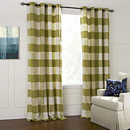 Two Panels Modern Plaid/Check Green Bedroom Cotton Panel Curtains Drapes