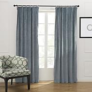 modernos dois painéis sólidos azul quarto cortinas de painel de mistura de algodão poli cortinas