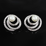 Stud Earrings Women's Brass Earring Pearl