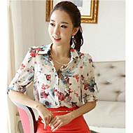 kvinders plus size print hvid / rød bluse, arbejde flipperne langt ærme