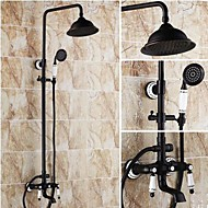 Antique Shower System Rain Shower Handshower Included with  Ceramic Valve Two Handles Three Holes for  Oil-rubbed Bronze , Shower Faucet