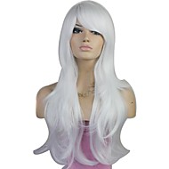 Party Wig Korkiton High Quality Long Big Wave Synteettiset Side Bang Valkoinen