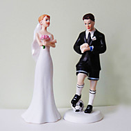 Cake Toppers Soccer Groom & Exasperated Bride  Cake Topper