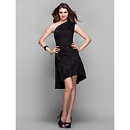 TS Couture Cocktail Party / Holiday / Prom Dress - Black Plus Sizes / Petite A-line One Shoulder Asymmetrical Satin