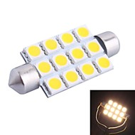 42mm 3W 160LM 3000K 12x5050 SMD Warm White LED for Car Reading/License Plate/Door Lamp (DC12V, 1Pcs)