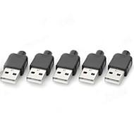 Tyyppi 4pin USB Mies virtalähteet / Liittimet - Musta + hopea (5 kpl)