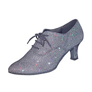Women's Dance Shoes Practice Shoes/Ballroom/Modern Leatherette Chunky Heel Gray Customizable