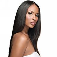 100% Uforarbejdet brasilianske Virgin Hair 18inch Helblonde Wig midterste del Silky Straight Natural Black