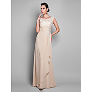 Formal Evening/Prom/Military Ball Dress - Champagne Plus Sizes Sheath/Column Jewel Floor-length Chiffon