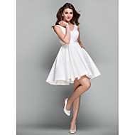 Cocktail Party Prom Holiday Dress - Short Elegant A-line V-neck Short / Mini Lace with Sash / Ribbon