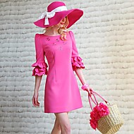 Roze Doll Dames Ronde Kraag 1/2 Sleeve Dress