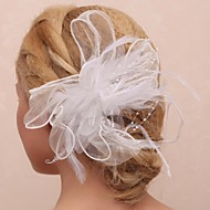 Women's / Flower Girl's Feather / Tulle / Imitation Pearl Headpiece-Wedding / Special Occasion / Outdoor Flowers