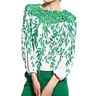 Vrouwen Eenvoudig Alle seizoenen Blouse,Casual/Dagelijks Bloemen Lange mouw Groen Polyester Dun