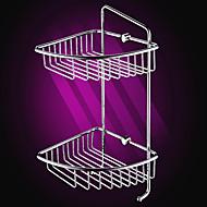 Silver Brass Triangular Double-layer Corner Sorage Basket with Hooks