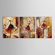 Hand-Painted People Horizontal Panoramic Three Panels Canvas Oil Painting For Home Decoration