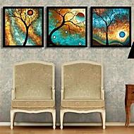 Άνθινο/Βοτανικό Καμβάς σε Κορνίζα / Σετ σε Κορνίζα Wall Art,PVC Μαύρο Χωρίς Χάρτινο Φόντο με Πλαίσιο Wall Art