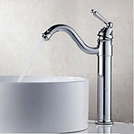Contemporary Centerset Rotatable with  Brass Valve Single Handle One Hole for  Chrome , Bathroom Sink Faucet