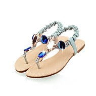 Women's Summer / Fall Ankle Strap / T-Strap / Toe Ring Leatherette Dress / Casual / Party & Evening Flat Heel Rhinestone / CrystalBlue /