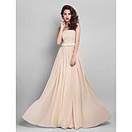 TS Couture® Floor-length Georgette Bridesmaid Dress - Elegant Sheath / Column StraplessApple / Hourglass / Inverted Triangle / Pear / Plus Size /
