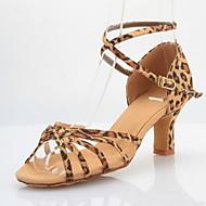 Non Customizable Women's Dance Shoes Latin/Ballroom Satin Chunky Heel Leopard
