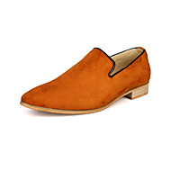 Men's Spring / Summer / Fall / Winter Comfort Leatherette Casual Flat Heel Black / Green / Navy / Orange