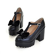 Women's Spring / Summer / Fall / Winter Platform / Round Toe Leatherette Casual Chunky Heel Bowknot Black / Red / White