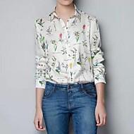 Women's Print Multi-color Blouse/Shirt , Shirt Collar Long Sleeve