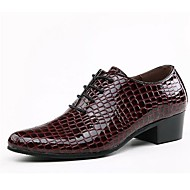 Men's Shoes Casual Leather Oxfords Black/Burgundy
