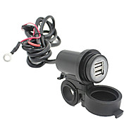 Motorcycle Mobile Waterproof Splashproof 2 USB Power Supply Port Socket Charger 2.1A