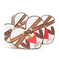 Schokolade und weißen herzförmigen Geschenk-Box mit Band (set of 3)