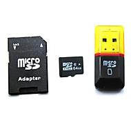64 GB microSDHC třídy 10 TF paměťová karta SDHC s SD adaptérem a USB čtečka