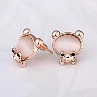 패션 사랑스러운 곰 골드 18K 금 도금 스터드 귀걸이 (핑크) (1pair)를 장미