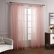 Two Panels Modern Solid Pink Bedroom Polyester Sheer Curtains Shades
