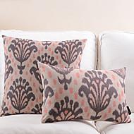 set om 2 abstrakt blomma bomull / linne dekorativa örngott