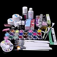 61pcs glitter uv gel cleanser primer nail art kit set