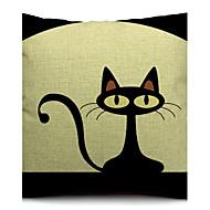 lite svart katt bomull / linne dekorativa örngott