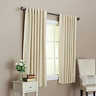 Two Panels Back Tap Top  Solid Thermal Insulated Blackout Curtains Drapes