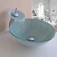 """Zeitgenössisch 420*130mm(16.5*5.1"""") Rundförmig Sink Material ist HartglasWaschbecken für Badezimmer / Armatur für Badezimmer / Einbauring"""