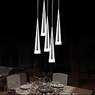 moderne aluminium vedhæng lys, 5 lys, transparent akryl metalplettering, 110v-240v.