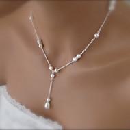 shixin® mode smukke hvide perle vedhæng halskæde (1 stk)