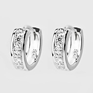 Earring Hoop Earrings Jewelry Women Birthstones Daily / Casual Sterling Silver / Zircon Silver