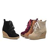Women's Shoes Round Toe Wedge Heel Ankle Boots with Lace-up More Colors available